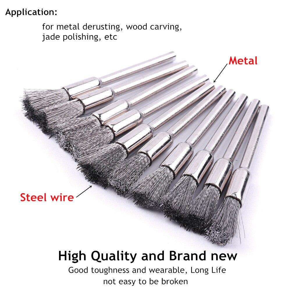 10 Uds. Cepillos de alambre de acero con mango de 3mm para la eliminación de óxido de Metal, molinillo de pulido de Jade tallado en madera, herramienta rotativa Dremel, cepillo de pulido