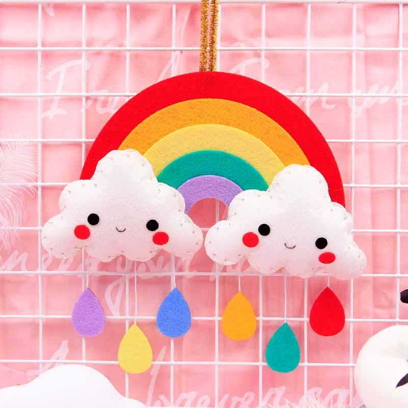 DIY Craft Kit Hanging Decoration Rainbow Children Handmade Sewing Cute Cloud Raindrop Ornament Door&Room Pendant Felt Craft Sets