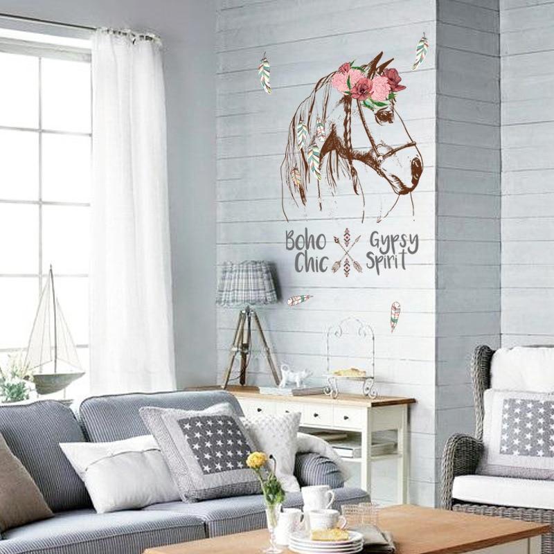 Boho cigano chique espírito cavalo cabeça personalidade pvc adesivos de parede rodapé placa sala estar crianças quarto varanda decoração para casa