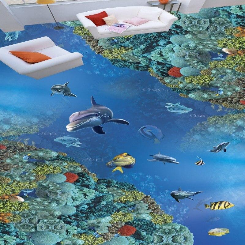 Free Shipping Underwater World 3D Dolphin flooring wallpaper hotel office hallway waterproof wear floor mural