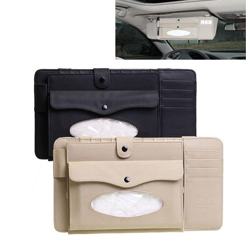 Ymjywl caja de CD de cuero para coche DVD Sun caja visera con organizador de almacenamiento de tejido para gafas carpeta negocios Bolsa porta tarjetas