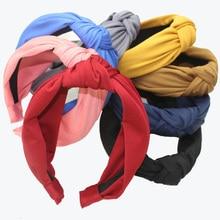 Groothandel Koreaanse Solid Spandex Stof Hoofdband Vrouwen Center Geknoopt Haarband Mode Haaraccessoires