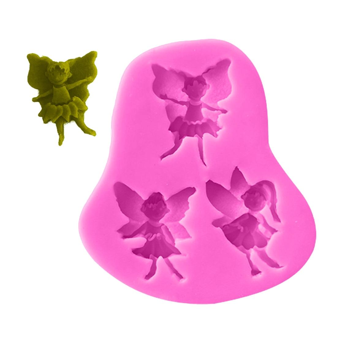 1 pieza de utensilios de cocina de silicona con forma de Hada de elfo 3D, molde de Chocolate, utensilios de cocina de decoración, molde de silicona para repostería, molde de silicona