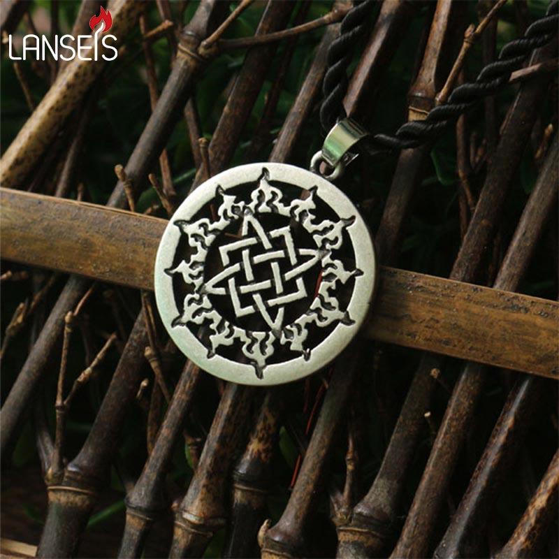 1pcs small Svarog square pendant. Star Rus amulet  pendant Ancient slavic talisman pendant jewelry pagan men necklace