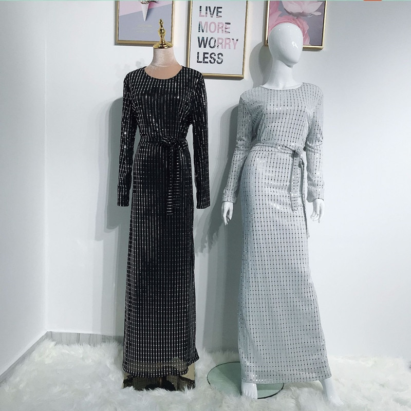 Luxurious Sequin Abaya Kaftan Dubai Arabic Muslim Hijab Dress Women Caftan Robe Femme DRESS Vestidos Eid Turkish Dresses Elbise