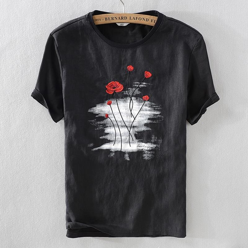 نمط جديد التطريز-زهرة الكتان t قميص الرجال أزياء العلامة التجارية قصيرة الأكمام الكتان تي شيرت رجل أسود س الرقبة شيرت تنفس الذكور