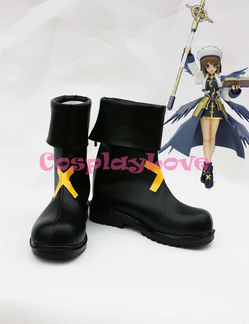Magical Girl Lyrical Nanoha Hayate Yagami Cosplay zapatos botas hechas a mano hecho a medida para Halloween Navidad