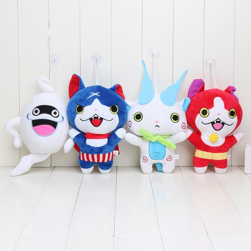 Yo-kai Yokai montre peluche 20cm Kawaii Komasan chuchotement bleu/rouge Jibanyan peluche jouets peluches poupée pour enfants