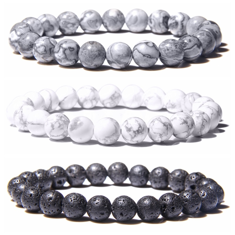 Natural Black Lava Rock Stone Beaded Men Bracelet Fashion White Turquoises Beads Bacelet for Women M