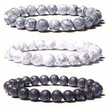 Natural Black Lava Rock Stone Beaded Men Bracelet Fashion White Turquoises Beads Bacelet for Women M
