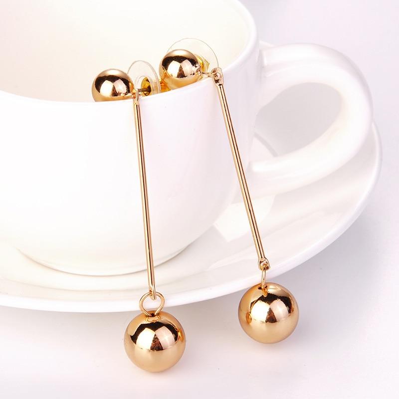 Moda prateado festa de ouro grande bola redonda contas de metal único requintado pendurado brincos longos
