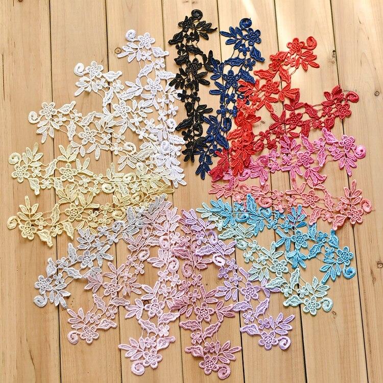 Aplique de encaje de cuello con flores bordadas solubles en agua con colores decorativos para vestido de novia