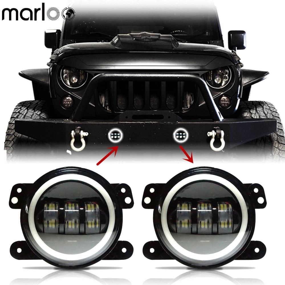 Par Marlon 4 pulgadas LED lámpara antiniebla blanco ámbar verde azul rojo rosa DRL Halo ojos angular luz para Chrysler Dodge Jeep Wrangler JK