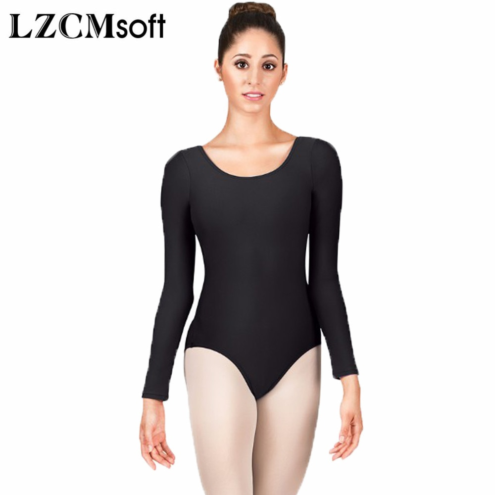 LZCMsoft mujeres cuello redondo malla de manga larga Bodysuit Spandex Nylon negro Mallas de gimnasia Ballet Ropa de baile cortos Unitards