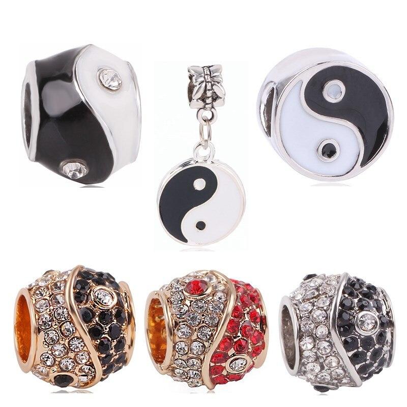 dodochamrs Silver Color Yin Yang Big Hole Crystal Beads Rhinestone Charms Fit Pandora Bracelet Necklace Women Jewelry