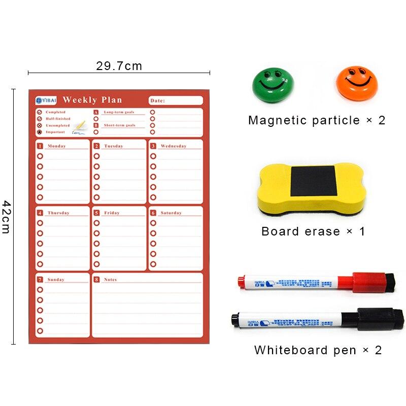 YIBAI Placa Magnética Calendário agenda Semanal, desenho/Mensagem/Placa de Escrita de Apagar a Seco Para Casa Geladeira 4 Cores Disponíveis