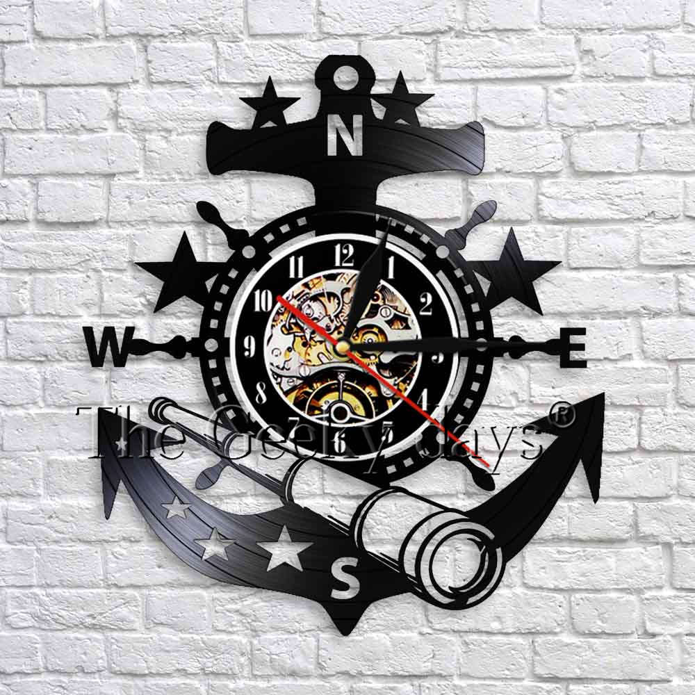 Yachting Sea Sailing Boat Anchor Telescope Wall Clock Nautical Steering Wheel Vintage Vinyl Clock Handmade Wall Art Decor