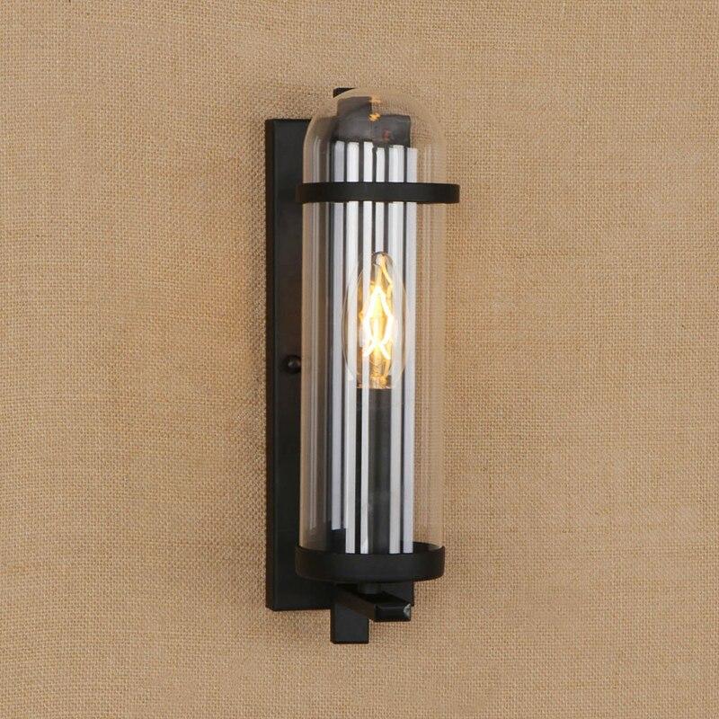 Loft de lámparas de pared vintage industrial de vidrio pantalla E14 LED lámpara luces de pared para el hogar Cocina Sala dormitorio Baño