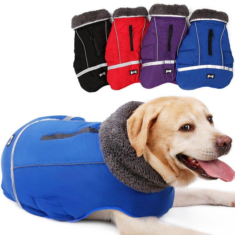 Ropa para perros grandes de piel gruesa caliente para perros grandes abrigo impermeable de invierno para perros mascota chaqueta reflectante Golden Retriever ropa de Pitbull