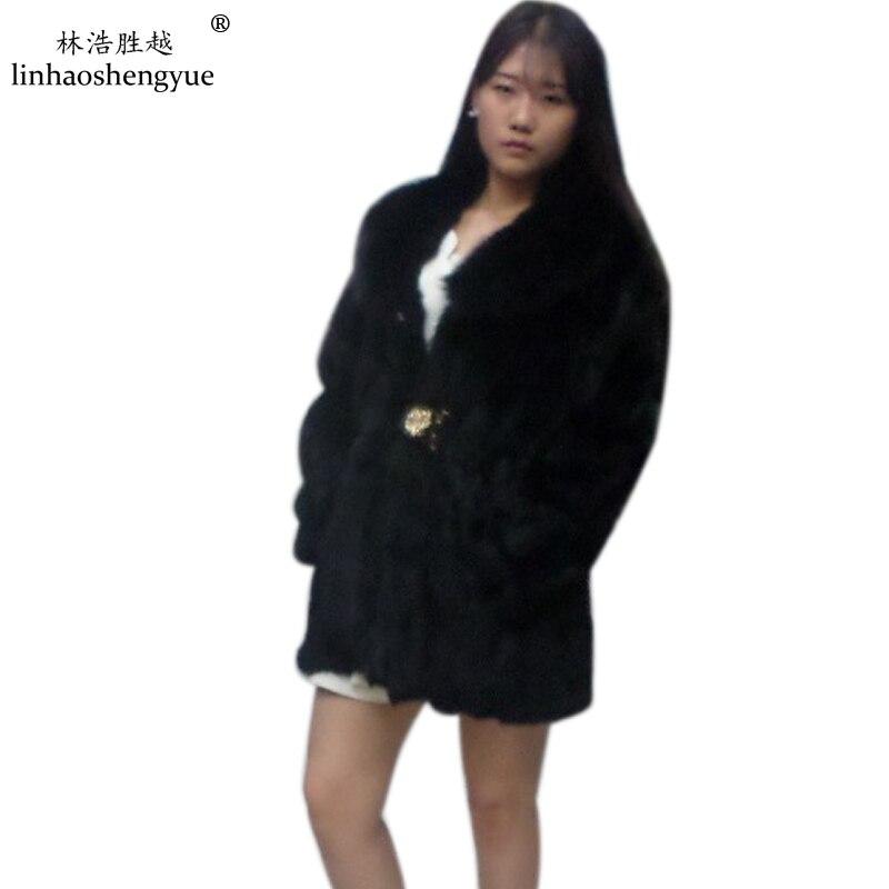 Abrigo de piel de conejo natural con cuello de zorro Linhaoshengyue