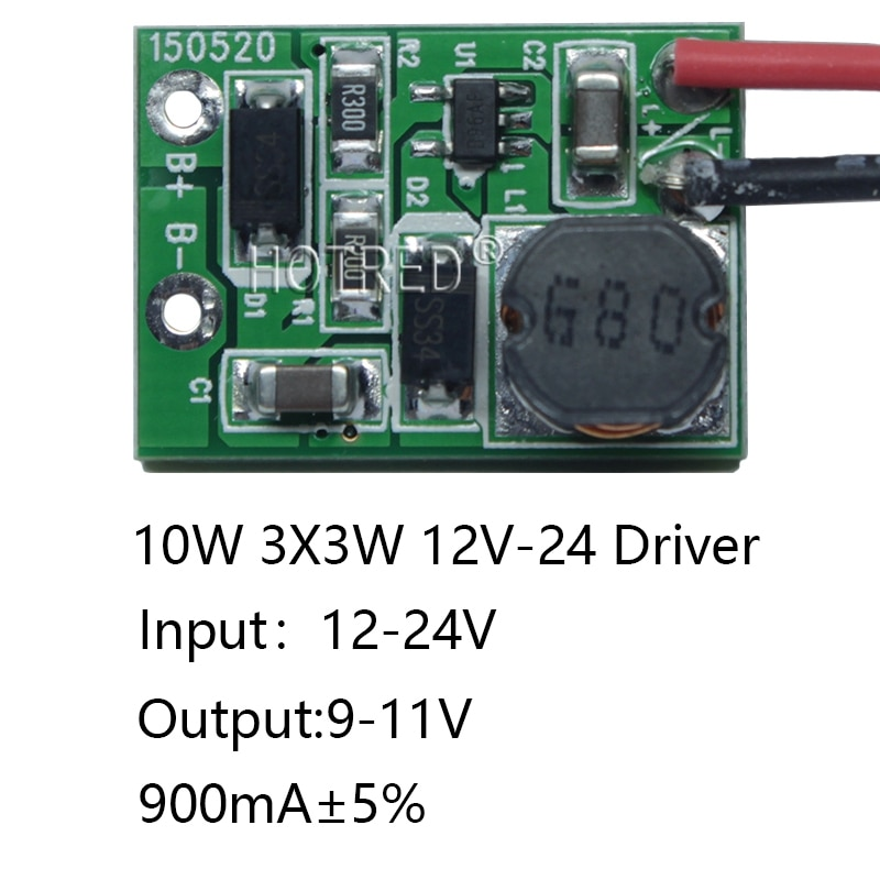 10 pces 12 v 24 v 10w conduziu o motorista para 3x3 w 9-12 v 900ma de alta potência 10w conduziu o transformador da microplaqueta para a luz do ponto/luz de inundação, freeshipping