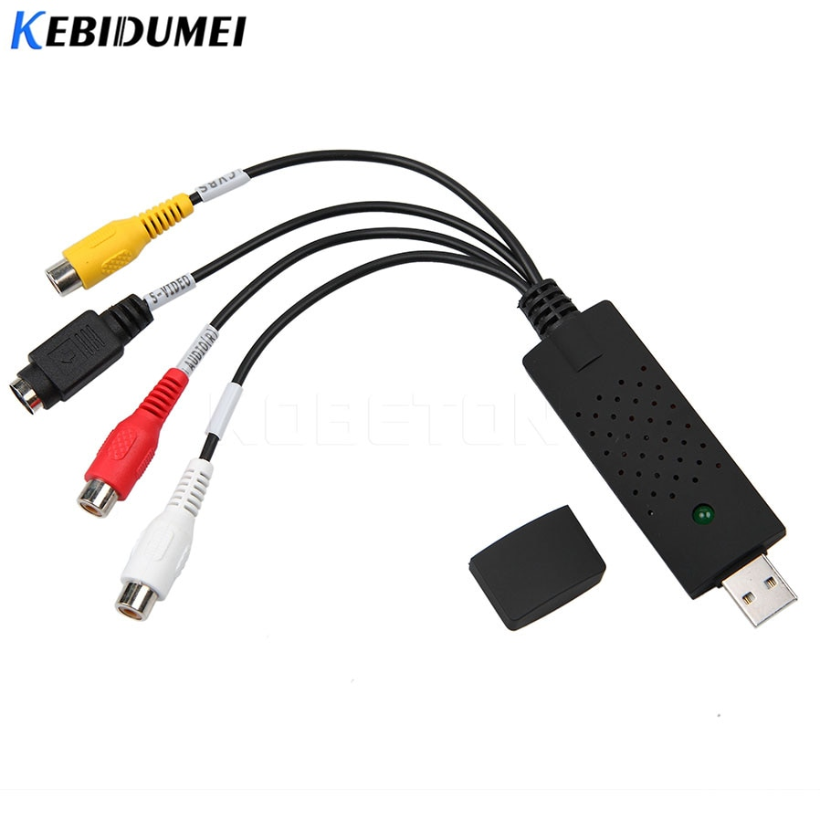 Адаптер Kebidumei для перезаписи VHS на DVD, портативное простое в использовании устройство для захвата аудио и видео с подключением через USB2.0 и поддержкой Win7/8/XP/Vista
