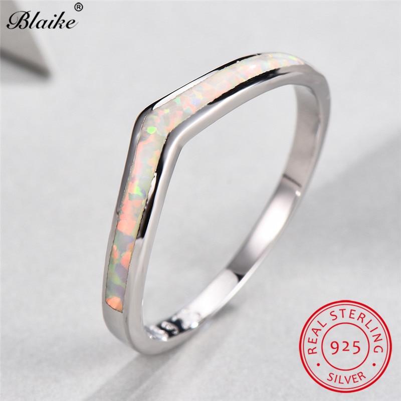 Blaike-bague ondulée en argent Sterling 925 pour femmes, bague opale de feu blanc minimaliste, bijoux fins, bague de mariage