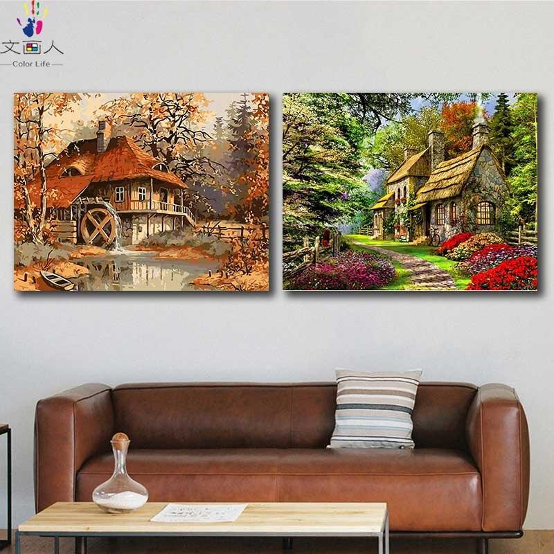 Imágenes de manualidades para colorear por números con colores otoño paisaje de primavera cuadro dibujo pintura por números decoración enmarcada dos piezas