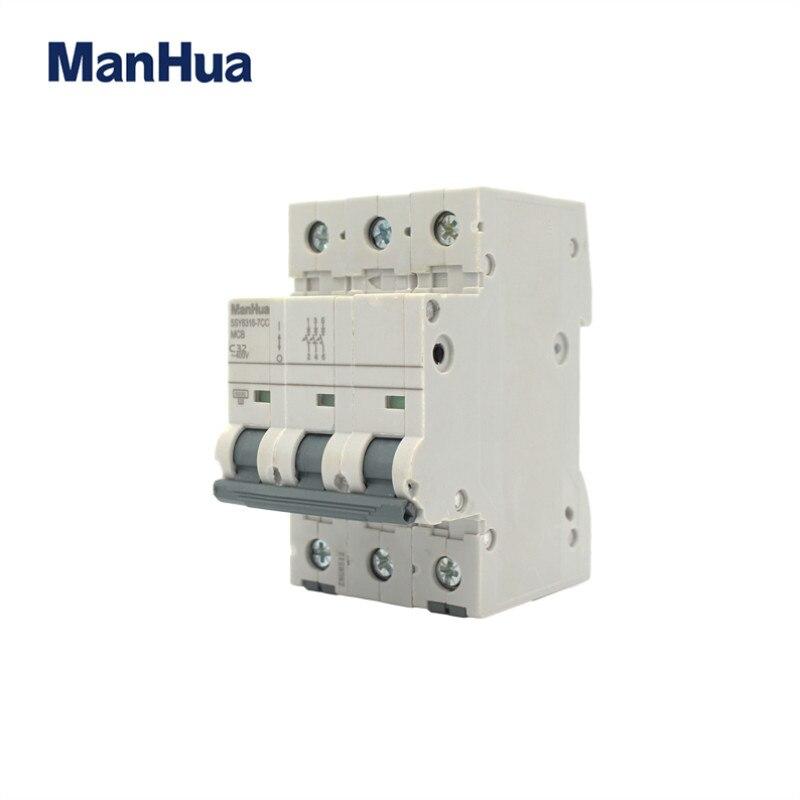 ManHua 3P C32 миниатюрный автоматический выключатель защита от перегрузки Disjoncteur напряжение реле контроля изоляции автоматический выключатель
