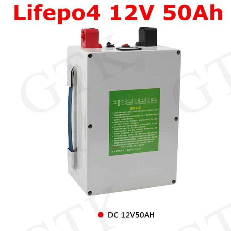 GTK 12v 50Ah LIfepo4 Paquete de batería 14,6 v 80A 150A 500W para la iluminación solar del coche Led motor bicicleta vehículo UPS inversor uso + 5A cargador