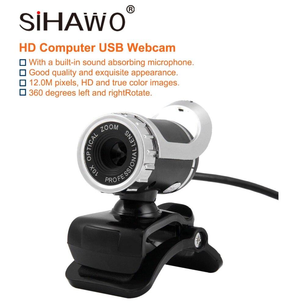 USB Web 360 DegreeRotate HD 12MP cámara de ordenador cámaras Web resolución incorporada 640*480 resolución 30fps CMOS