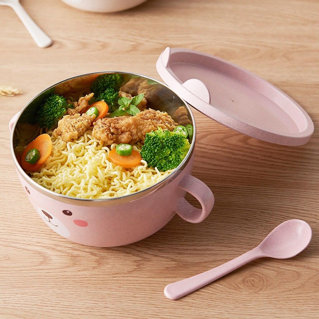 Recipiente de acero inoxidable con dibujo de gato bonito ramen bowl, recipiente de comida con mango y sopa de serpiente, Bol para sopa de arroz bowl fruit box W30704