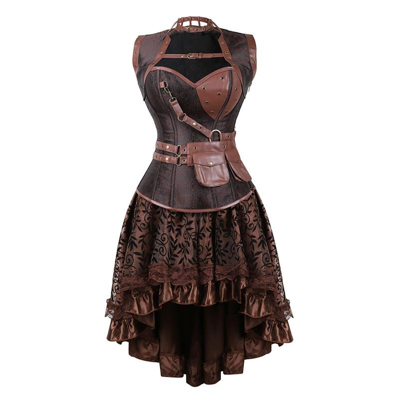 فستان كورسيه Steampunk عتيق للنساء ، مشدات وتنورة لحفلات الهالوين ، زي قوطي مثير للنساء ، بني