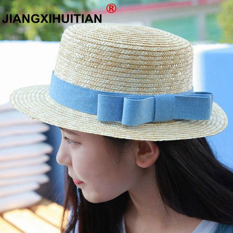 Оптовая продажа, соломенная шляпа, шляпа-канотье для девушек, летние шляпы с бантом для женщин, Пляжная плоская соломенная шляпа, соломенная шляпа, женская шляпа 48-52-54-58cm