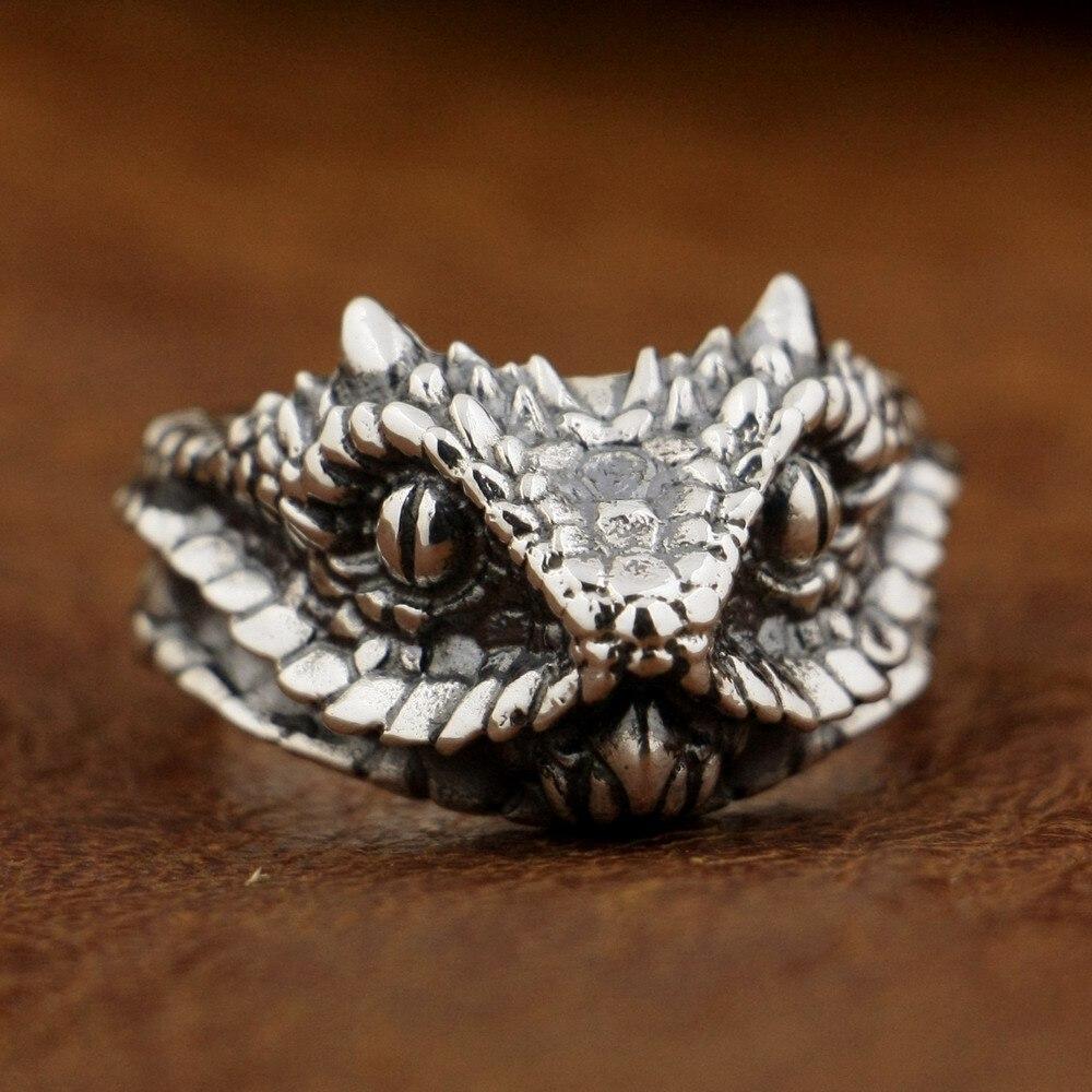 Linsion 925 prata esterlina adder víbora cobra anel masculino biker anel ta87 eua tamanho 7 15 15