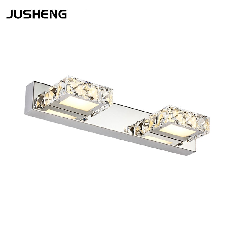 JUSHENG 6W Crystal Bathroom Wall Lighting fixture 2-lights 32CM Square Indoor LED Wall Lights AC110V /220V