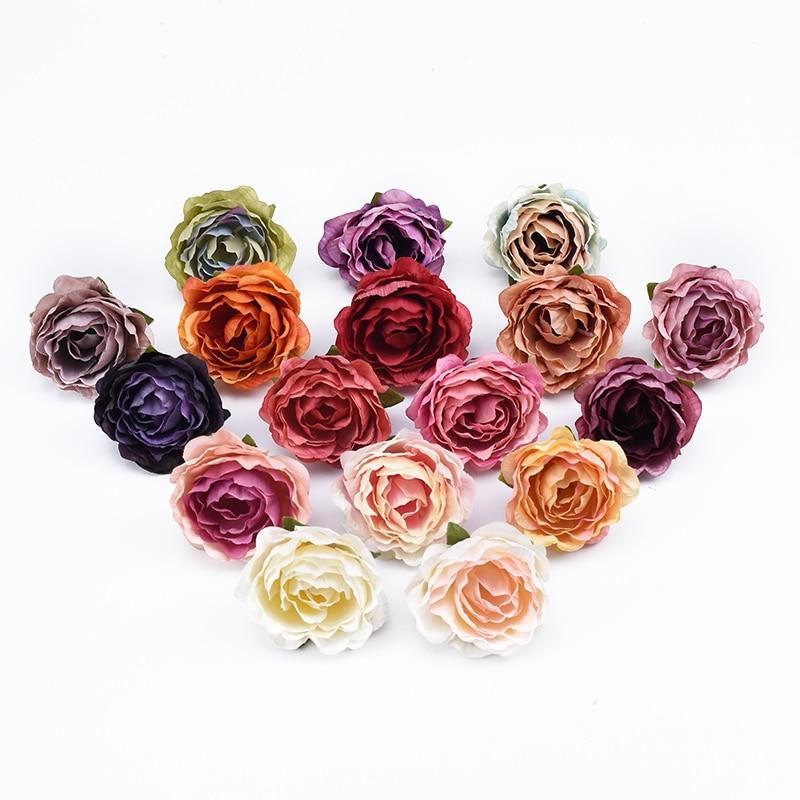 5pcs Silk rose head wedding flower wall home decor accessories Christmas wreath Scrapbook diy gifts box artificial flowers cheap