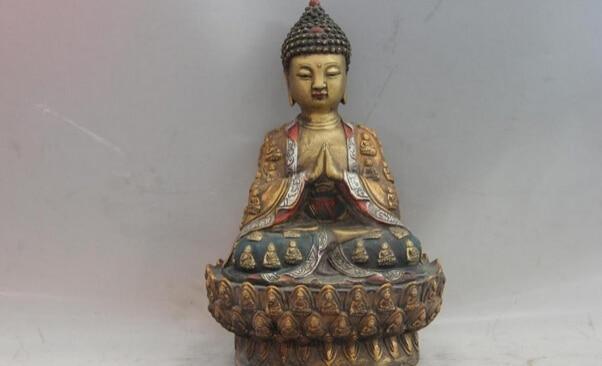 song voge gem S0959 11 Temple Copper Bronze Color Painted Tathagata Sakyamuni Amitabha Buddha Statue