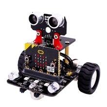 مجموعة روبوت للمايكرو: مجموعة روبوت ذرع بت للأطفال لروبوتات بي بي سي Microbit قابلة للبرمجة ذاتية الصنع سيارة لعبة مع برنامج تعليمي لتتبع الخيال العلمي