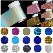 100*4cm Holografic Nail Art autocollants enveloppes ongles transfert feuille manucure outils vente en gros au détail C141