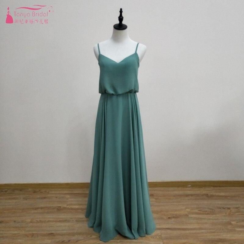 Vestidos de dama de honor largos de encaje verde salvia Simple chifón una línea Formal para invitados de boda Vestido para fiesta mujeres vestido JQ54
