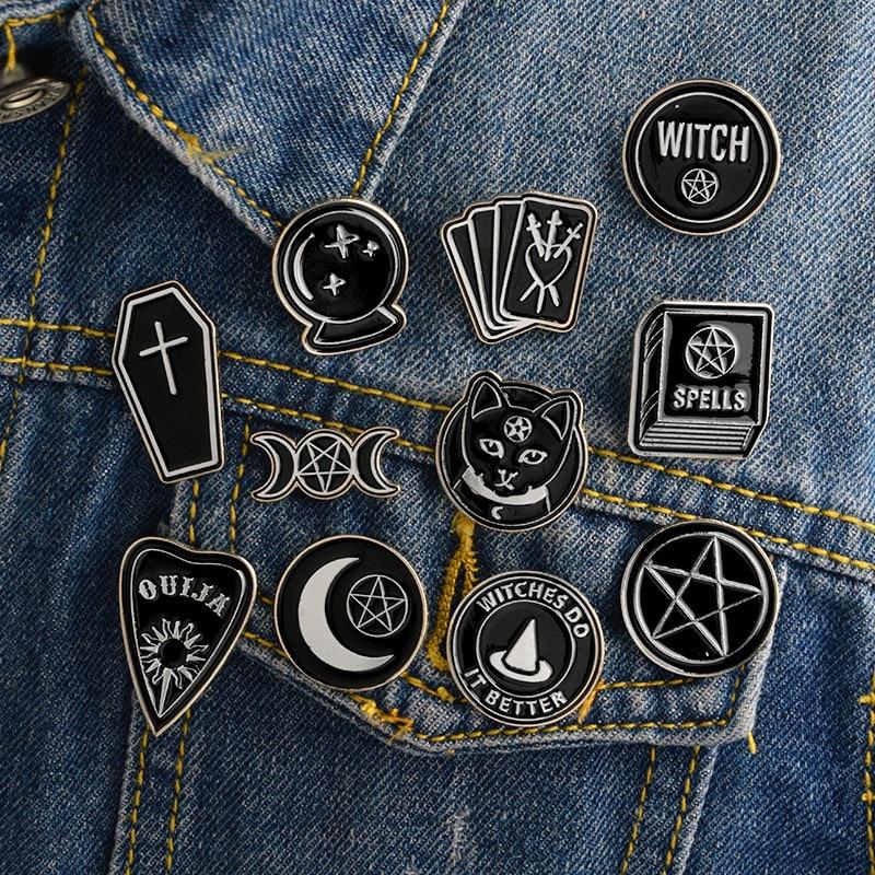 Ведьмы делают это лучше ведьмы ouija черные магниты в виде Луны значки броши-Значки для лацкана эмалированные значки на рюкзак сумка аксессуары колдунья булавка