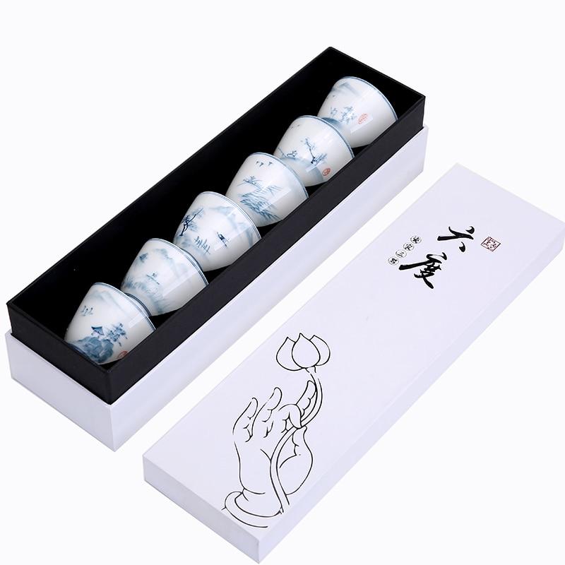 6PCS White Porcelain Mug Personal Tea Cup Set taza de porcelana blanca Chinese Kung Fu Drinkware With Gift Box