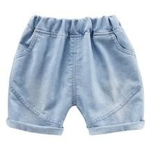 Summer Children Boys Girls Solid Print Denim Short Pants Trousers Kids Casual Shorts Mid Waist