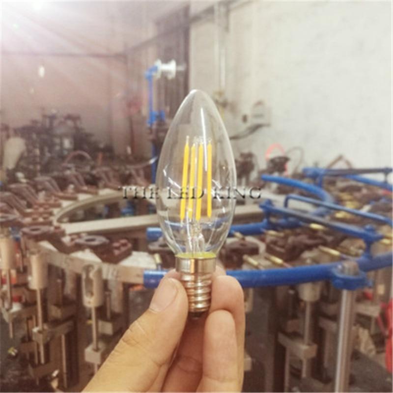 1-10 Uds 6w 12w 18w E14 claro LED Bombilla C35L G45 C35 220v CA lámpara de velas LED de filamento helado 230v AC