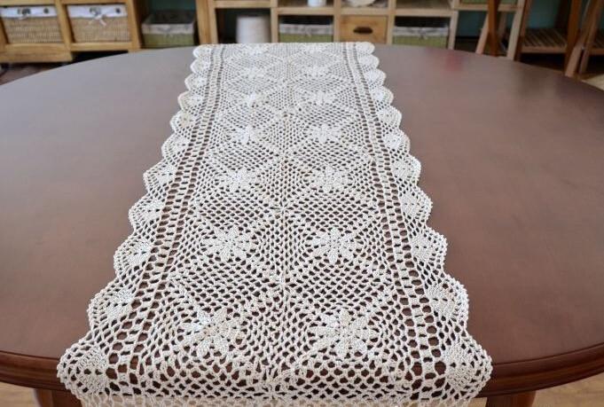 Handmade crochet Flowers Tablecloths Coffee Table Runner retro Cotton Cover cloth Cupboard hollow Rectangular Sofa towel