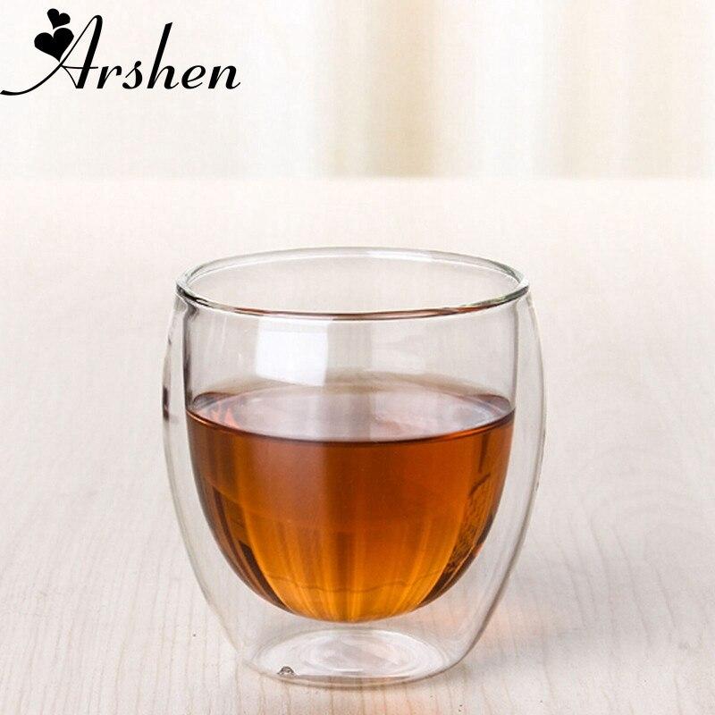 Arshen, новая технология, 80 мл, прозрачная двойная стеклянная посуда, кофейные чашки, стеклянная посуда для молока, пива, супа и Изолированные чашки для вина