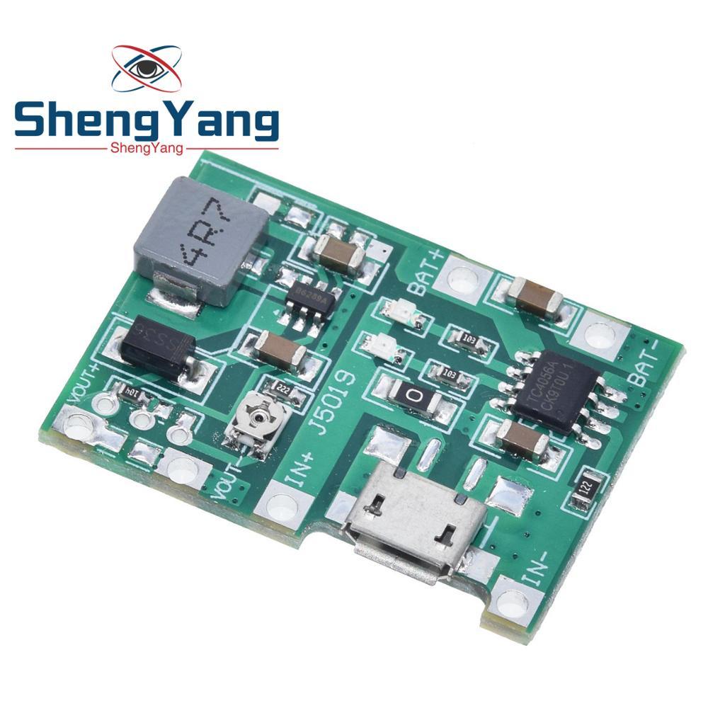 ShengYang nuevo Li-ion de litio 18650 3,7 V 4,2 V, DC-DC placa del cargador de batería, módulo de refuerzo TP4056, Kit de piezas DIY