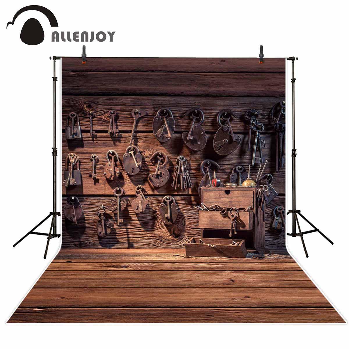Allenjoy fotografía telón de fondo cerraduras Vintage de pared Reparación de madera Fondo sesión fotográfica cabina de estudio fotográfico decoración sesión fotográfica