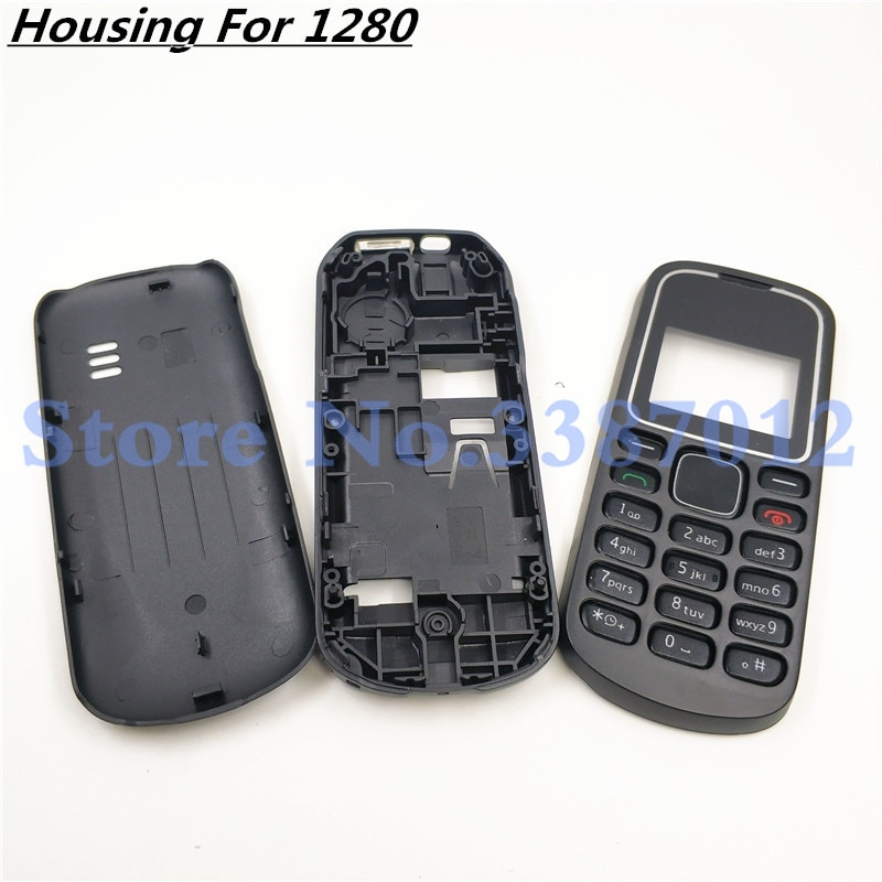 Cubierta de carcasa completa para Nokia 1280 marco frontal + Medio + cubierta trasera + teclado parte del teléfono celular con logotipo de